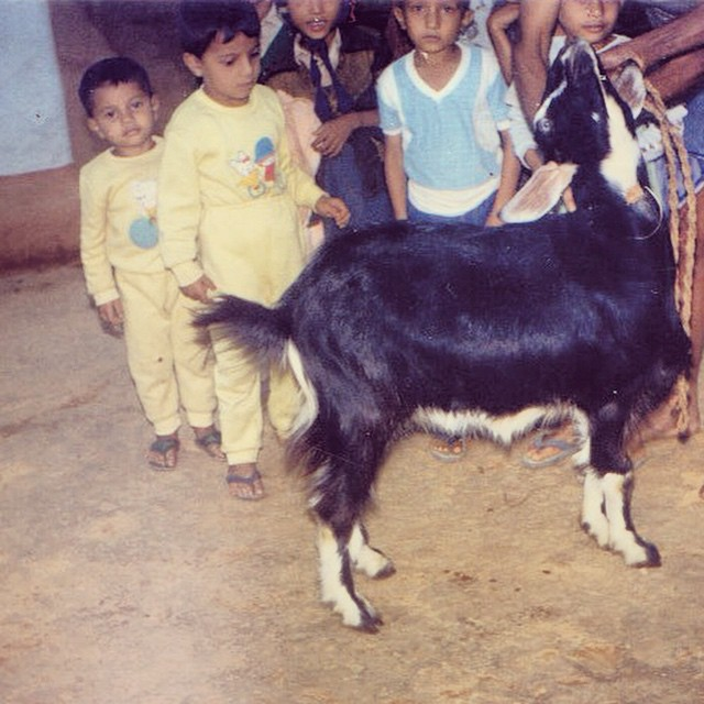 I (front, in yellow) along with my brother (right behind me) inspect the goat raised by grandfather for feast during that year's festival.